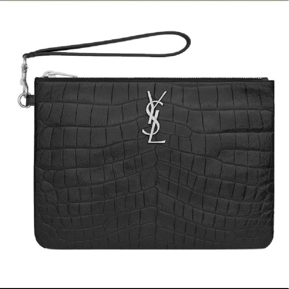 4825f5abb6b Ysl Monogram Crocodile Printed Leather Pouch. M_5c37a2d33c98449448173a6f.  Other Bags you may like. Yves saint Laurent clutch